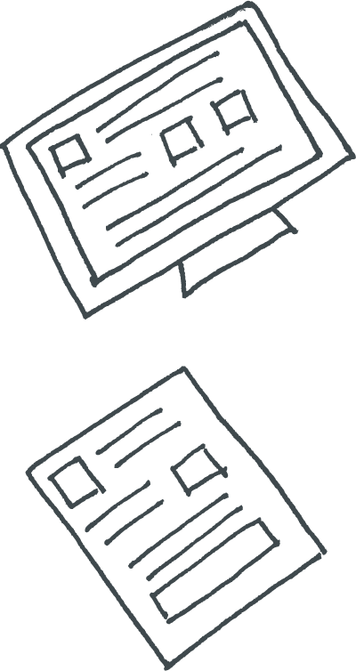 line drawing of resources on a computer and paper
